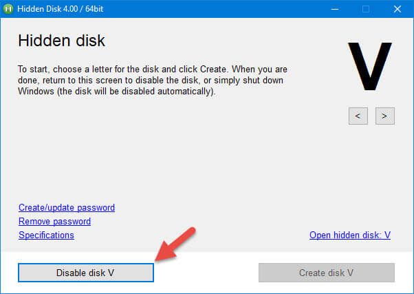 To hide the disk, click on 'Disable Disk' button
