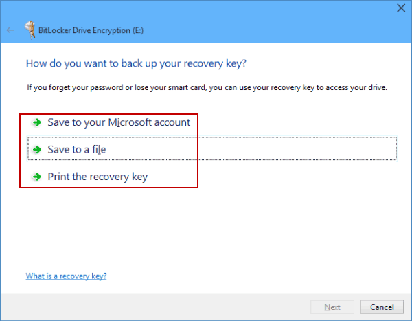 Save the recovery key