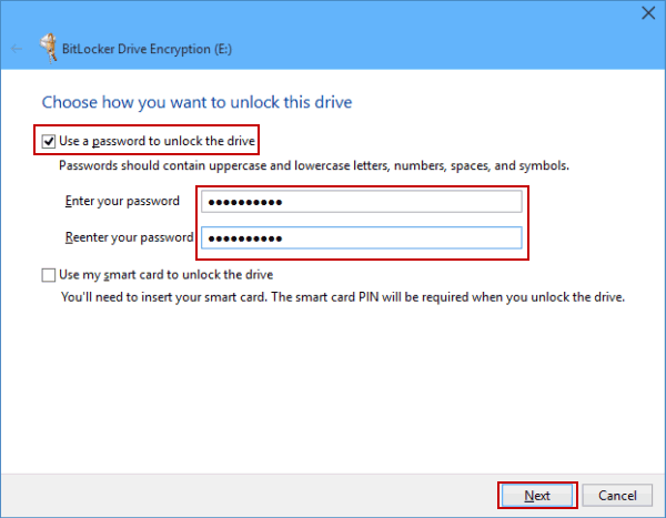 Enable the first option and enter the password