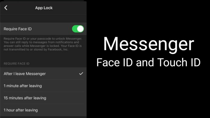 Facebook Messenger Face ID and Touch ID for iOS user