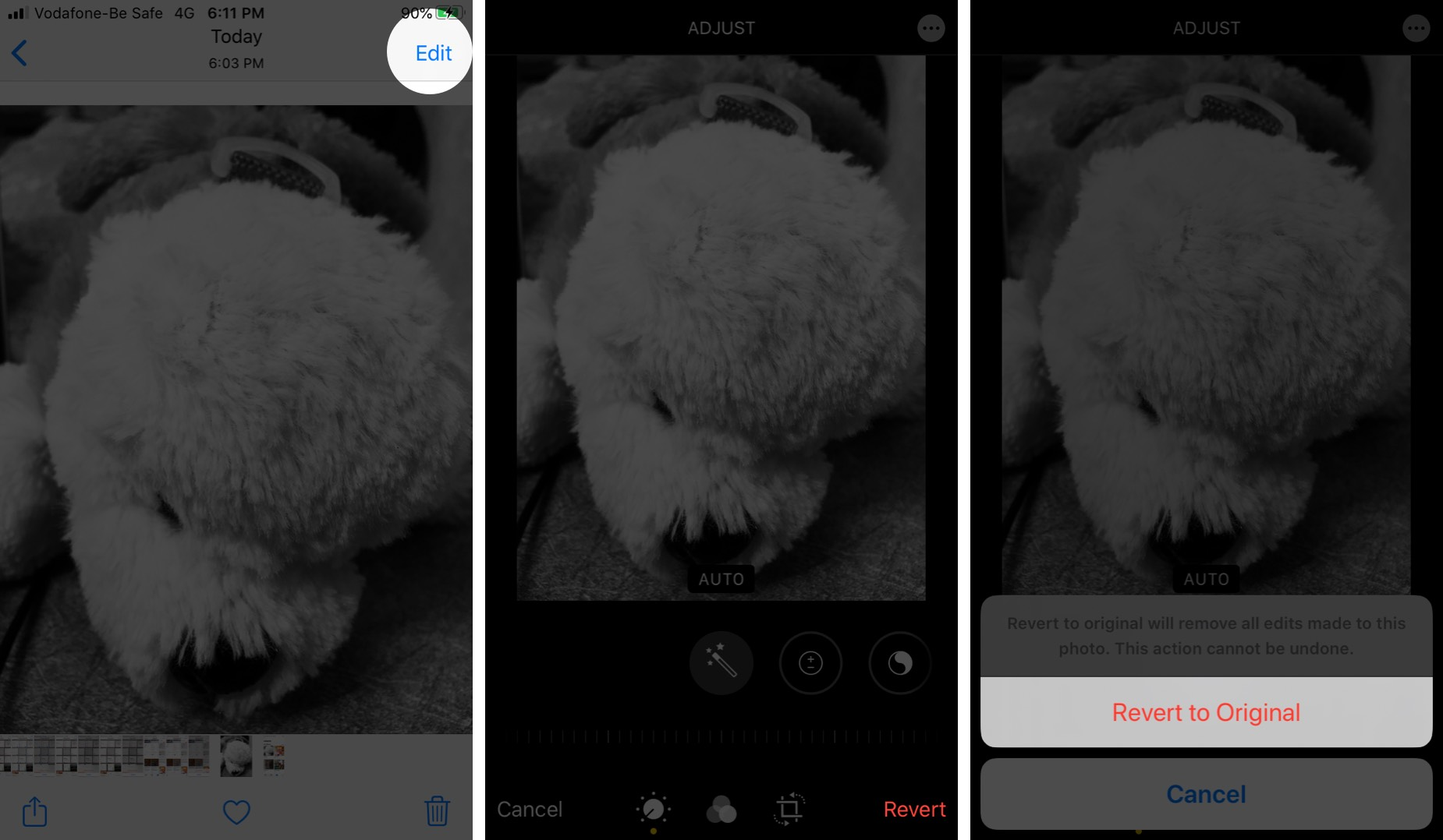 tap on revert to remove filters and effects from photos on iphone