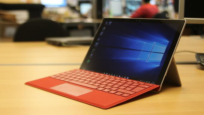Microsoft Surface Pro 4 with red type cover